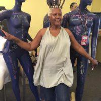 Renaissance client Judi Henderson with mannequins.